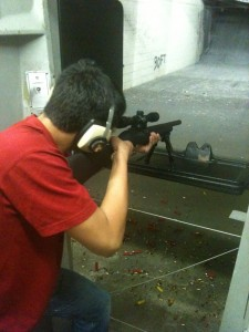 The Viking tries shooting at Target Masters West shooting range