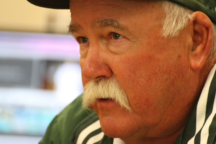 Head+football+coach+Earl+Hansen+speaks+to+members+of+The+Viking.+This+year+is+the+40th+anniversary+of+his+mustache%2C+as+well+as+his+25th+year+at+Paly.