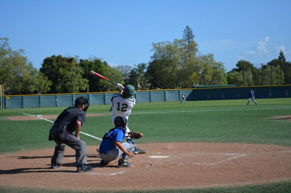 Alec+Olmstead+%28%2716%29+takes+a+swing+in+todays+matchup+against+Los+Altos+High+School.+