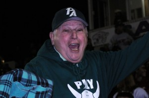 Palo Alto football parent Harry Nizamian acts as mascot