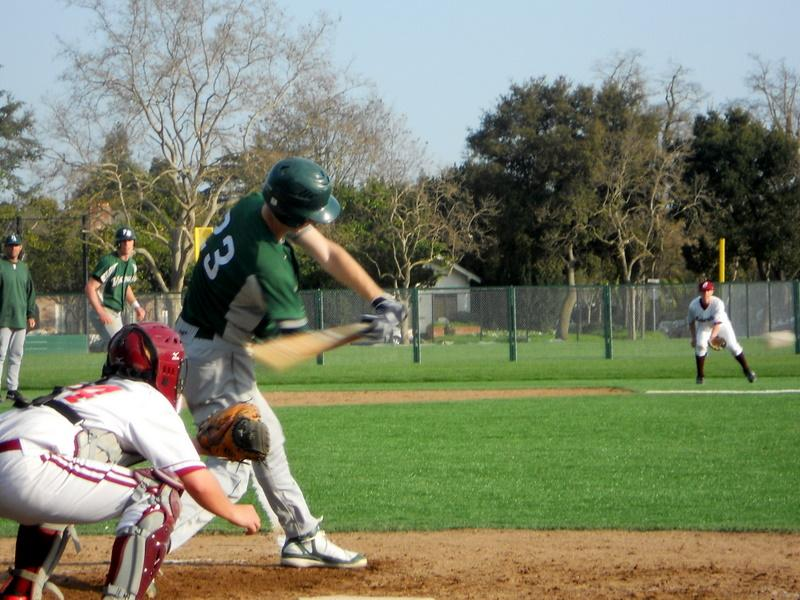 Drake Swezey ('11) gets a hit off of Cupertino in the Viking's second victory against the team this week. Paly won 6-3, and now has a league record of 4-0. Photo by Sam Borsos