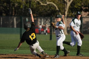 Second baseman Jack Witte ('12) attempts a double play against Mountain View. The Vikings's stifling defense shut out the Spartans in the two game series.