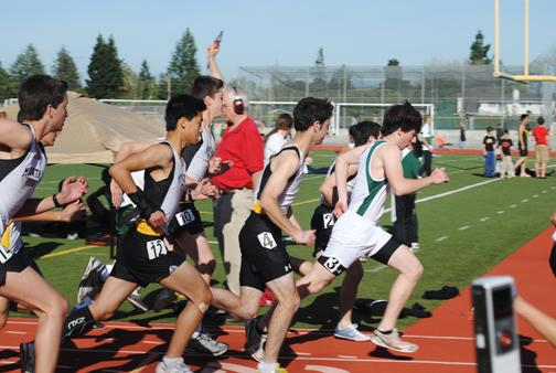 Anne Hildebrand: Kevin Lavelle at the startline of the 800.  Lavelle placed third, scoring one point for Paly.