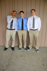 Varsity basketball teammates Israel Hakim ('12), Mathias Schmutz ('13) and Tori Prati ('12) show off their game day swag.