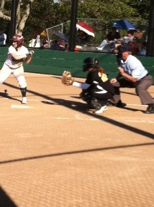 Mariah Philips ('11) bats during the bottom of the fourth inning. Philips stole two of the Vikings' six runs throughout the course of the game.