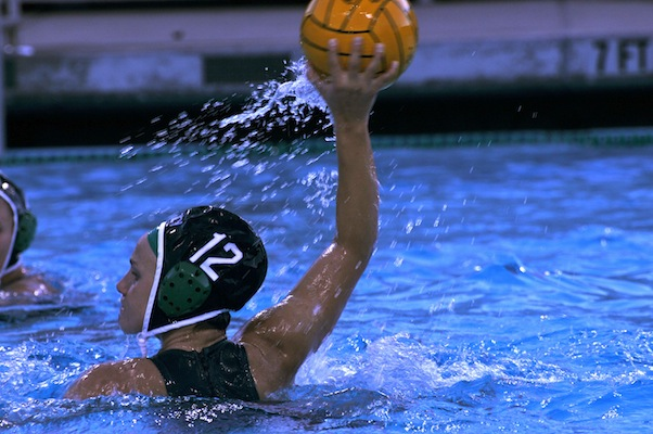 Shannon Scheel ('12) winds up for a shot in the girls' water polo game against Castilleja.  Scheel scored two goals for the Vikings.