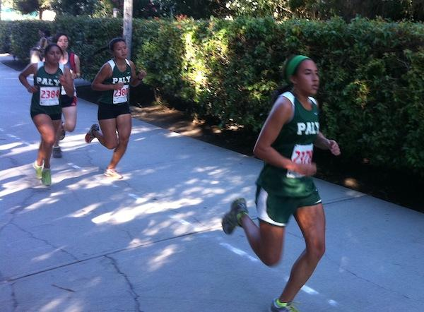 Rachelle Holmgren [12] leads the lady Vikes early on in the race. she placed second for Paly.