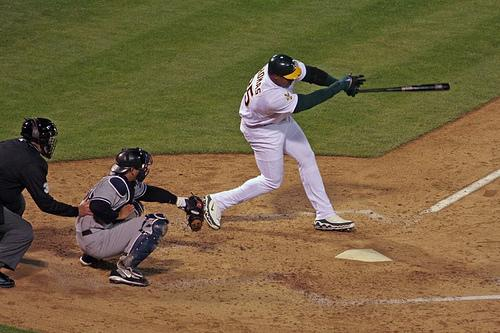 Frank Thomas hits his first home-run as an A against the New York Yankees on Opening Night in 2006. Thomas might just be the best investment in old and battered goods the A's have ever done. Photo used under Creative Commons from Ken Nakano.