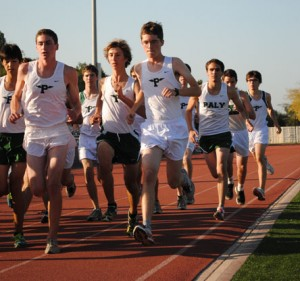Runners Nikolai Solgaard ('12), Ben Hawthorne ('13) and Sam Carilli start off strong.  They placed first through third for Paly.