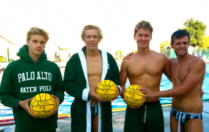 Seniors Daniel Armitano, Ethan Mellberg, Peter Rockhold, and Aaron Zelinger stand before the Paly pool together on their senior night.