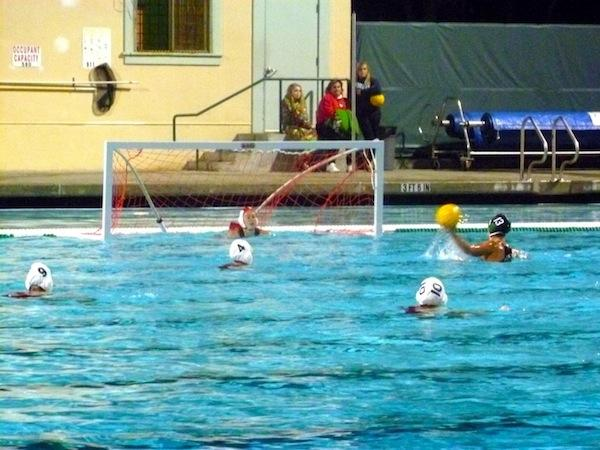 Skylar Dorosin ('12) scores one of her seven goals against San Benito.  This shot was a free position shot for her because the opposing team gave her a 5 m penalty when she was fouled.