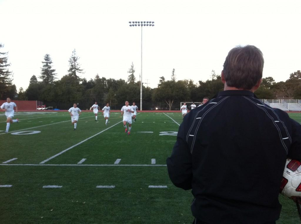 Palys head coach Donald Briggs has his team do sprints after losing a tight match to Mountain View 0-2.