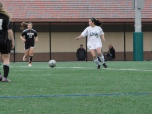 Defender Emy Kelty ('12) passes ball out of Pally territoy.  Kelty kept the Wildcats' offense at bay most of the game.