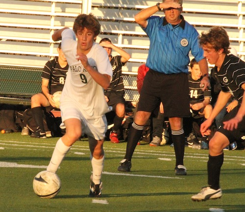 Michael Sullivan (13) pushes the ball up field in a game against the Gunn Titans. Paly lost, 0-2, making their record (0-7-2). Photo by Scotty Bara