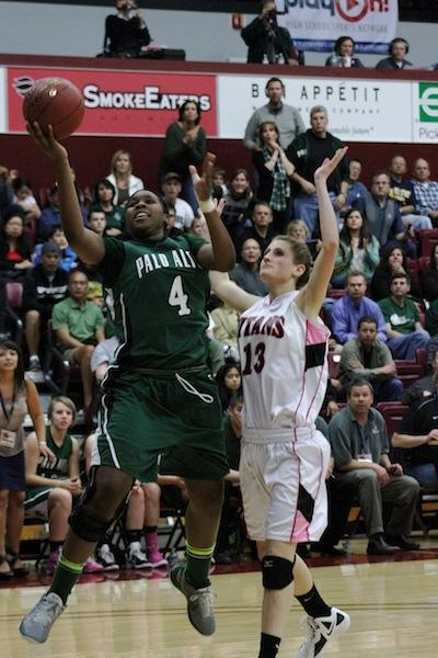 Emily Osagiede ('12) goes up for a lay up against a Gunn defender