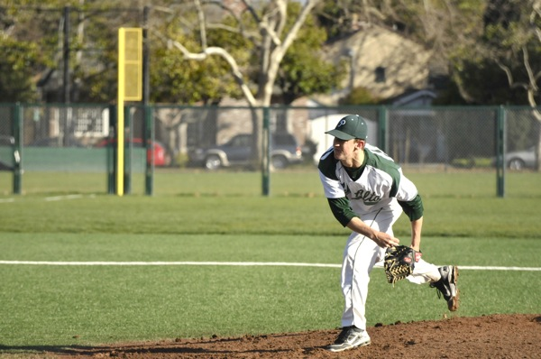 Ben Sneider ('12) pitches for the Vikes against Tracy.