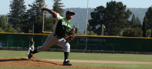 Kevin Kannappan ('12) pitches against Los Altos in second game of SCVAL Finals.  Kannappan had three strike outs in the ball game.