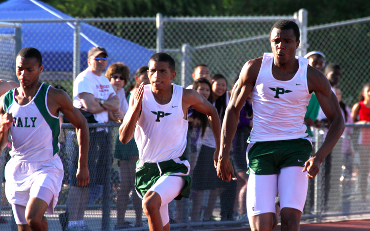 Jayshawn Gates-Mouton ('13), Tremaine Kirkman ('12), and EJ Floreal ('13) race in the 100 meter dash. All three will continue to the CCS Semifinals meet.