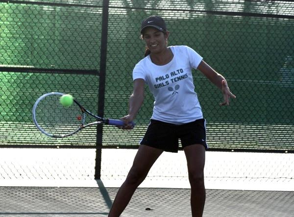 Paly girls varsity tennis defeats Mountain View in a close match, 5-2