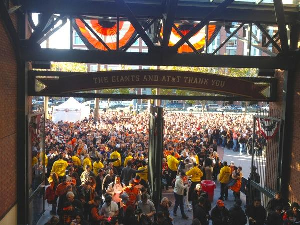 Hordes of Giants fans file into AT&T park before their team routed the Detroit Tigers 8-3 on Wednesday night.