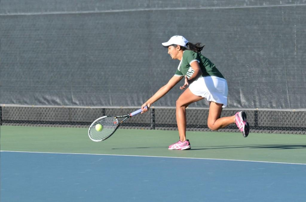 Co-captain and No. 1 single Aashli Budhiraja (14) puller her weight today against Saratoga, winning all three of her matches. Now ranked 23rd in Northern California, she will be Palys only player when she enters the CCS Individual playoffs on Nov. 19.