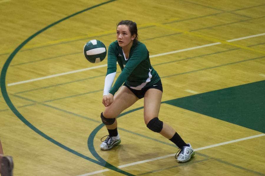 Keri Gee ('14) during a volleyball game between Paly and Sequoia. The Paly volleyball team (28-6) defeated the Sequoia Cherokees (22-7) in three straight sets, 25-22, 25-11, 25-20.