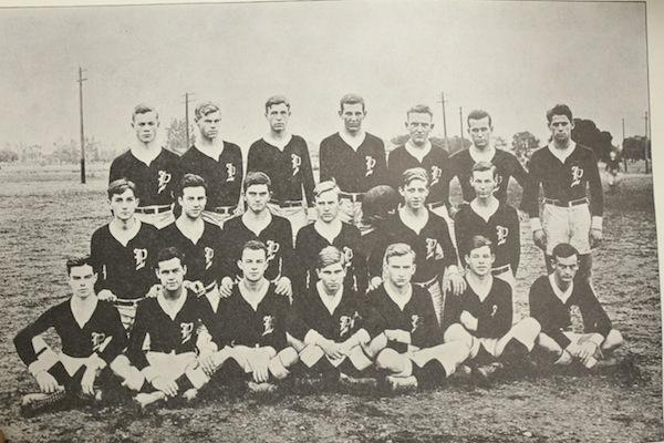 One of Paly's early football teams.  Paly played their first football game in 1898.