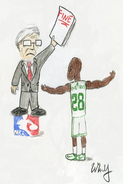 Boston's Mickael Pietrus can expect to pay David Stern lots of money this year if he continues his flopping antics from last year's playoffs.