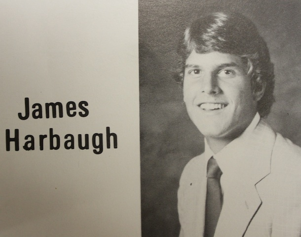 Jim+Harbaugh+%28%2782%29+smiles+for+the+camera+in+his+1982+yearbook+photo.+Harbaugh+will+coach+in+his+first+Super+Bowl+Feb.+3%2C+against+his+brother.+