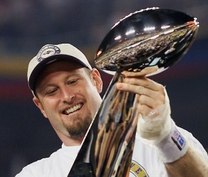 Trent Dilfer gazes at his Super Bowl XXXV trophy as a Baltimore Raven in 2001. Dilfer talked with a couple of Viking staff members Friday night during the Paly boys' team's victory over Mountain View.