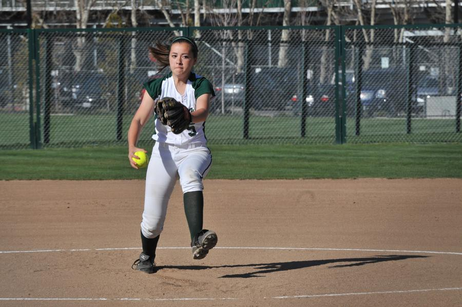 Casey Glassford ('15) delivers the first pitch in the top of the second inning. Glassford pitched five of the seven innings on Tuesday afternoon.