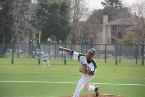 Rohit Ramkumar ('13) fires a pitch for the Vikings. Ramkumar threw six strong innings, giving up only one run en route to Paly's 2-1 victory over Maria Carrillo.