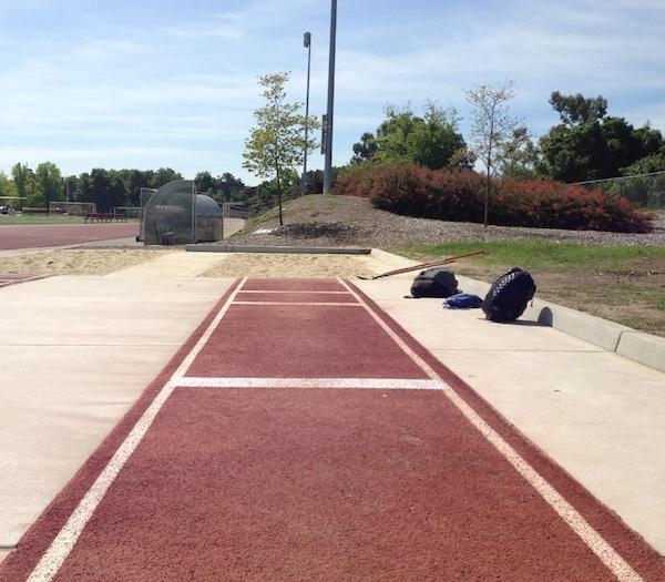The sight from a jumper's eyes at Gunn High School's jumping pit, a vision no longer available for the long and triple jumpers at the Palo Alto High School track.
