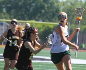 Girls' lacrosse loses early lead, drops league championship in triple overtime