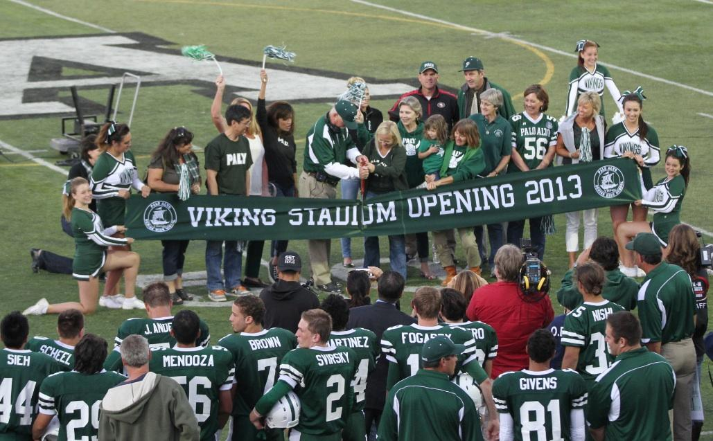 Palo Alto High School principal Kim Diorio and head coach Earl Hansen cut the ribbion to the new Viking Stadium during the Friday night football game vs. San Benito. Jim Harbaugh was in attendence for the coin toss before the game. The Vikings deafted the Haybalers 28-7.