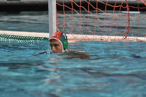 Jake Weinstein look on as the Palo Alto Boys' Varsity Water Polo team goes onto beat Mountain View, 9-7