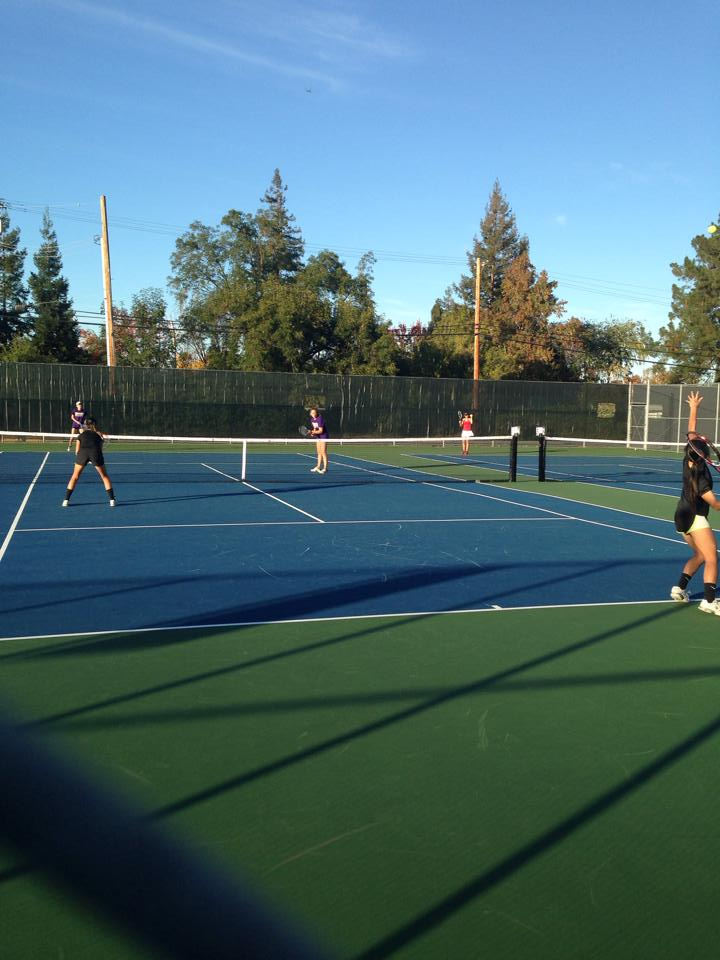 Paly girls tennis playing in the Santa Clara Valley Athletic Tournament Tuesday afternoon.