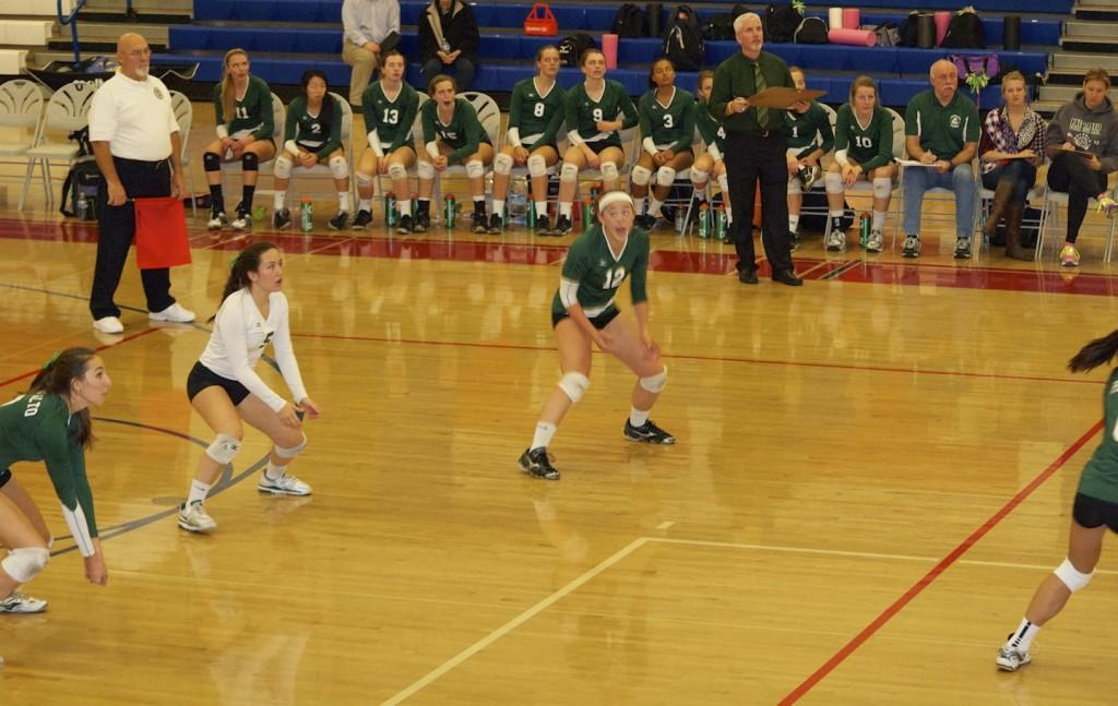 Keri Gee ('14) prepares for a dig against the Homestead Mustangs. The Mustangs went on to win the CCS championship.