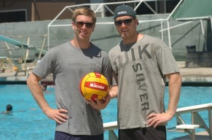 Matt (left) and Brandon (right) Johnson played water polo at Gunn High School and now coach at rival schools in Palo Alto and at Shoreline Water Polo Club, which they started.