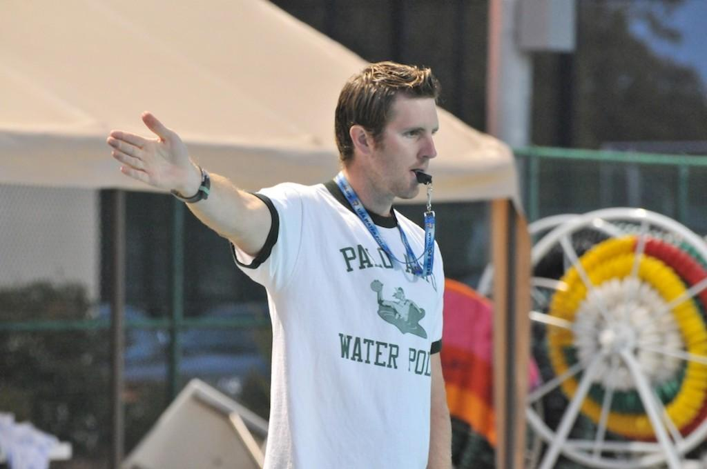 Brandon coaches the boys' varsity team during a practice at Paly.