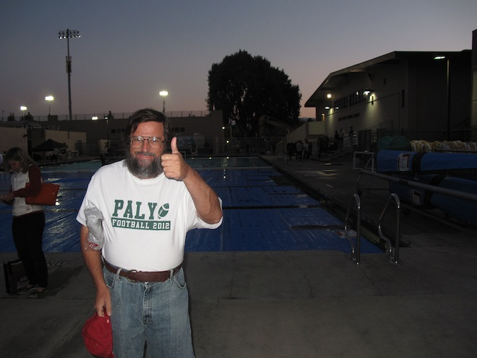 Starret gives a thumbs-up after watching the St. Francis game