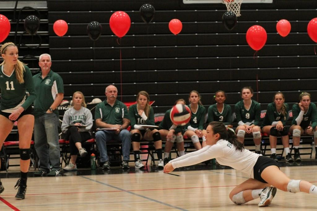 Keri Gee ('14) digs a spike from the back row. The Vikes went on to defeat Gunn for the second time in league.