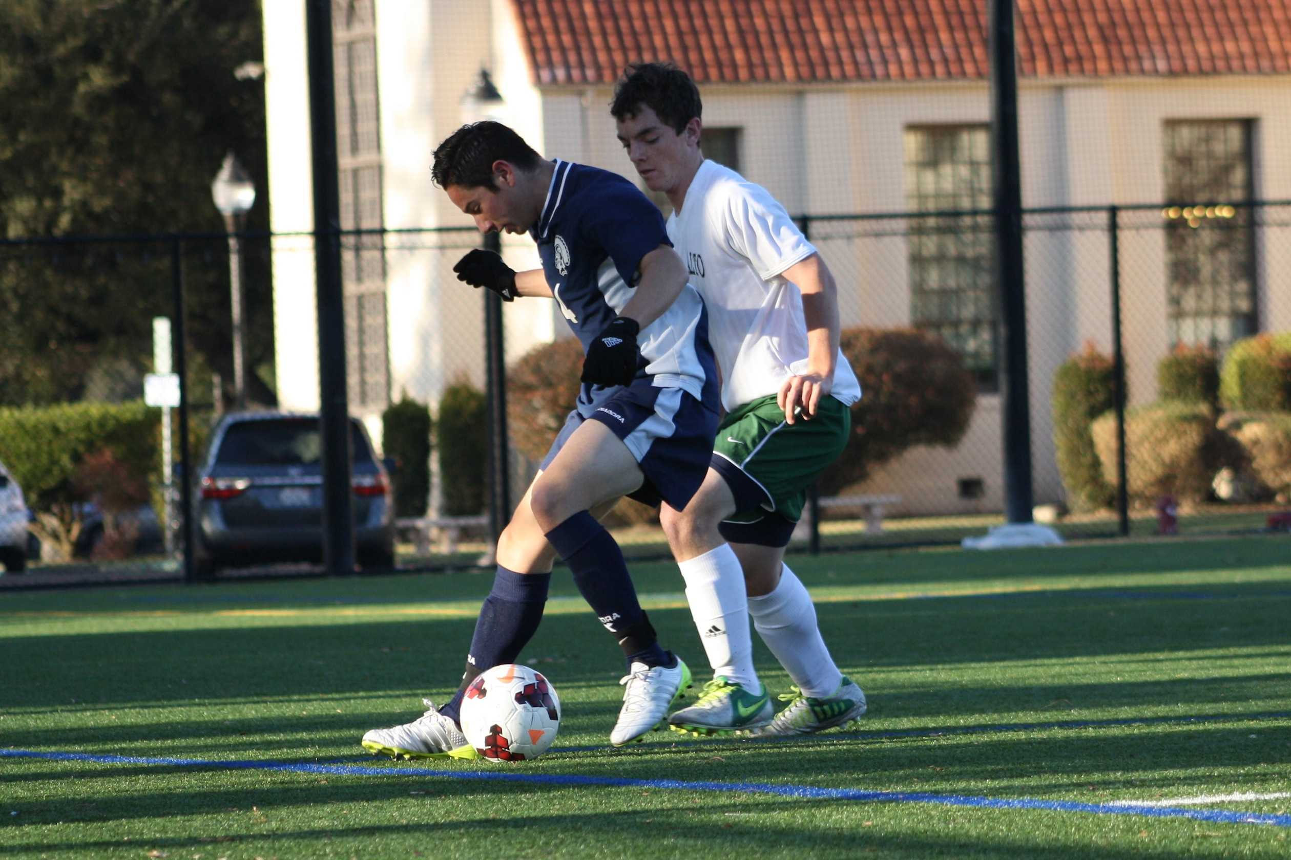 Preston Kuppe ('15) attempts to steal the ball from the Milpitas Trojans. The Vikings went on to tie the Trojans 1-1.