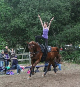 Irene Ezran ('14) performs one of her moves on the horse during a competition.  A freestyle routine consists of a series of 10 moves in one minute.