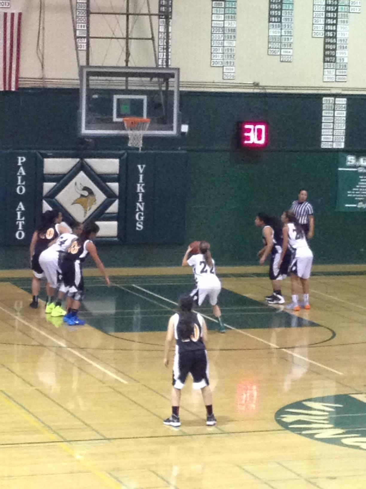 Maddie Atwater ('16) shoots a free throw during the third quarter.  The Vikings went on to win 82-29.