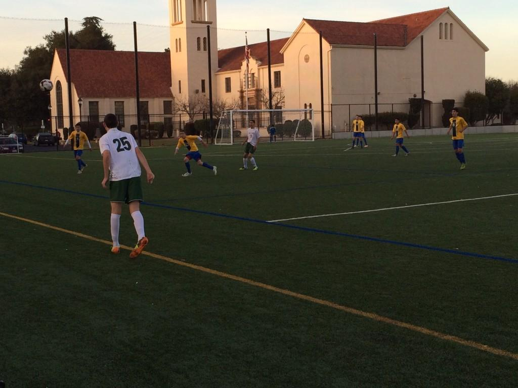Reuben Kramer ('16) takes a throw in against Santa Clara. The Vikings would go on to tie the game, 0-0