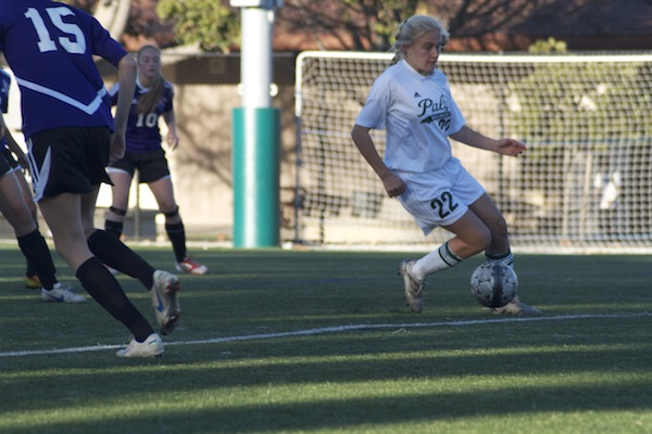 Heidi Moeser ('16) dribbles down the field. The Vikings defeat the Matadors for the second time this season.