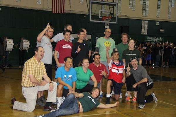The Paly staff poses for the camera after its 22-14 rout over the senior team