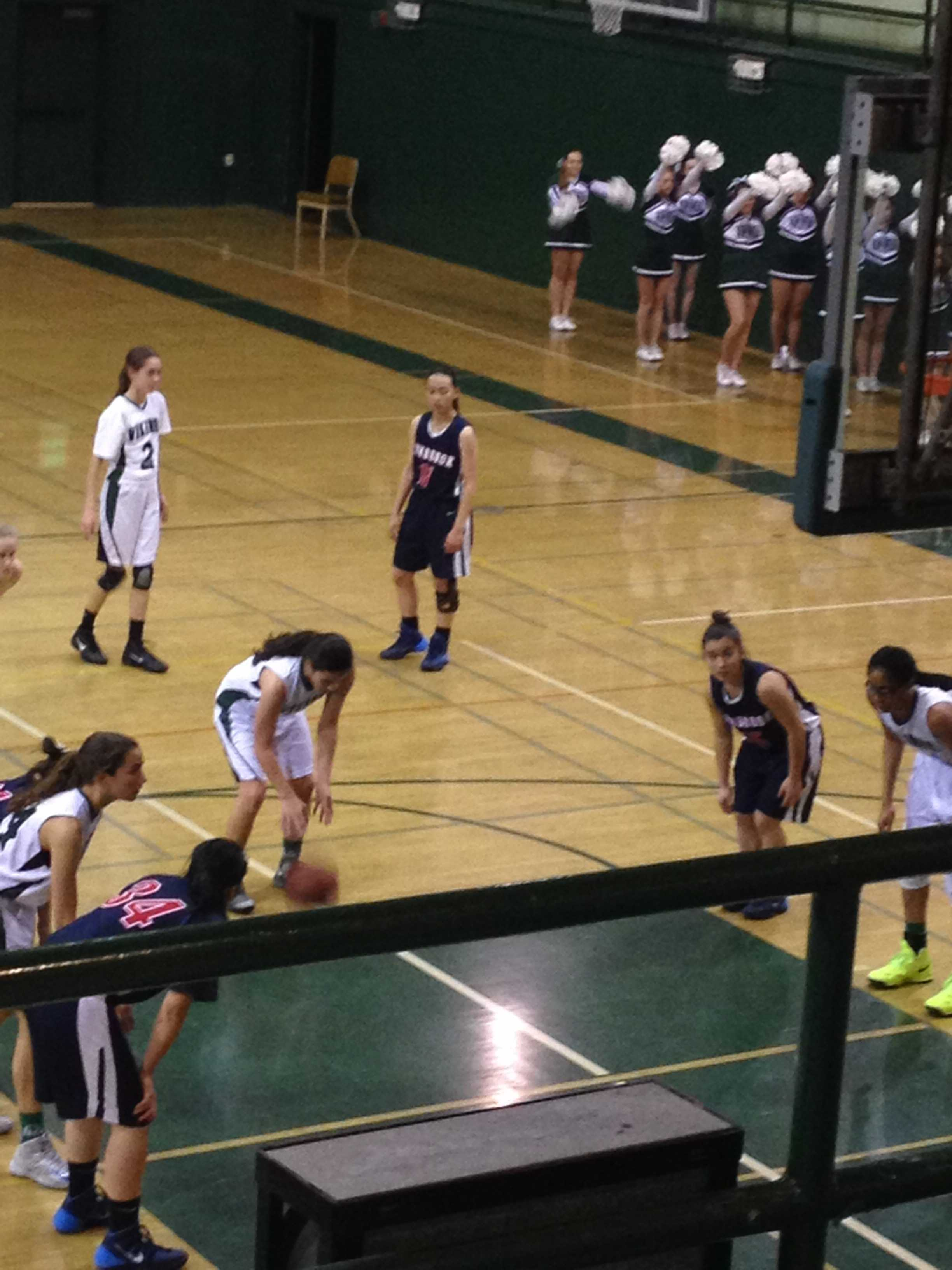 Lauren Koyama ('17) shoots a free throw during the game against Lynbrook.  The Vikings lost 42-30.