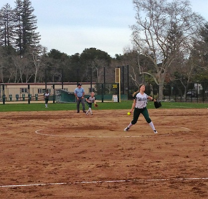 Vikings' pitcher Julia Saul ('14) pitched 12 strikeouts against the Mercy Crusaders.